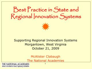 Best Practice in State and Regional Innovation Systems