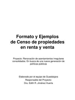 Formato y Ejemplos  de Censo de propiedades  en renta y venta