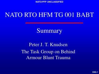 NATO RTO HFM TG 001 BABT Summary