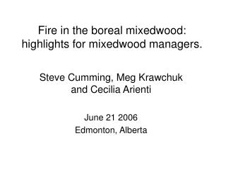 Fire in the boreal mixedwood:   highlights for mixedwood managers.