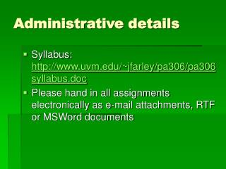 Administrative details