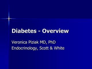 Diabetes - Overview