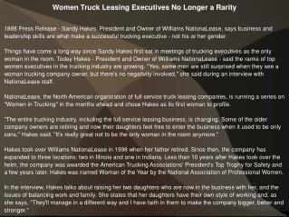 Women Truck Leasing Executives No Longer a Rarity