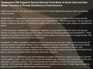 foodtweeks(TM) Supports Second Harvest Food Bank of Santa