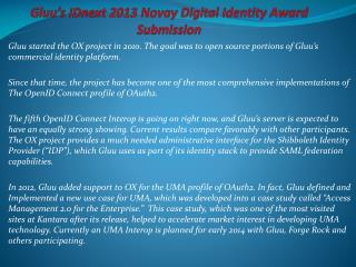 Gluu's IDnext 2013 Novay Digital Identity Award Submission