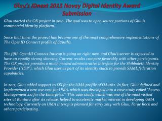 Gluu�s IDnext 2013 Novay Digital Identity Award Submission