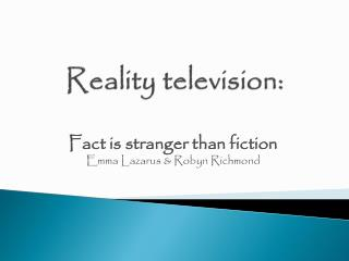 Reality television: