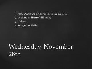 Wednesday,  November  28th
