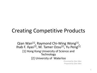 Creating Competitive Products