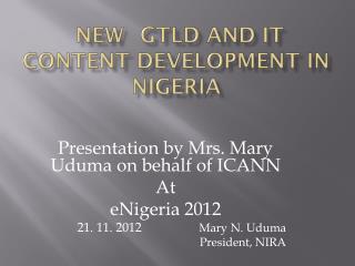 New  gTLD  and it content Development in Nigeria