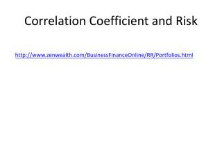 Correlation Coefficient and Risk