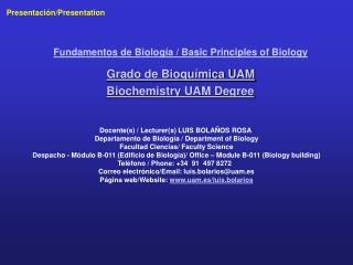 Grado de Bioqu mica UAM Biochemistry UAM Degree