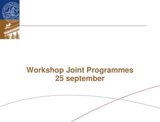 Workshop Joint Programmes 25 september