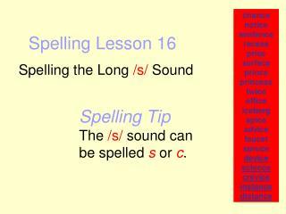Spelling Lesson 16