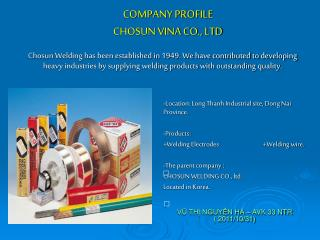 COMPANY PROFILE CHOSUN VINA CO., LTD