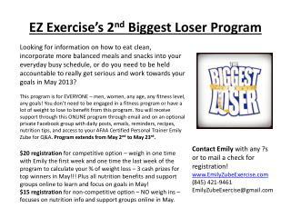 EZ Exercise's 2 nd  Biggest Loser Program