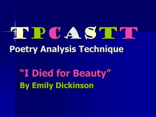 T P C A S T T Poetry Analysis Technique