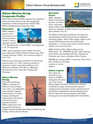 Edison Mission Group  Corporate Profile