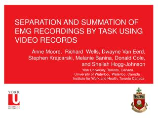 SEPARATION AND SUMMATION OF EMG RECORDINGS BY TASK USING VIDEO RECORDS