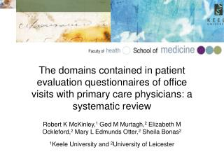 The domains contained in patient evaluation questionnaires of office visits with primary care physicians: a systematic