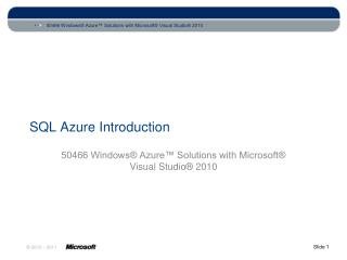 SQL Azure Introduction