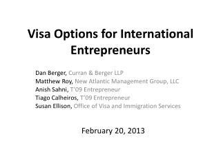 Visa Options for International Entrepreneurs