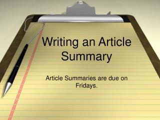 Writing an Article Summary