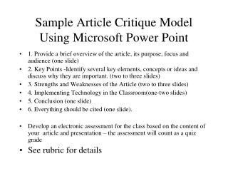 Sample Article Critique Model Using Microsoft Power Point