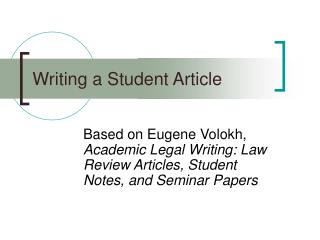 Writing a Student Article