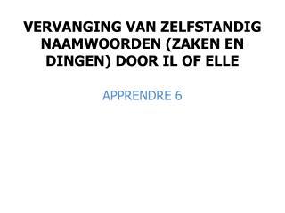 VERVANGING VAN ZELFSTANDIG NAAMWOORDEN (ZAKEN EN DINGEN) DOOR IL OF ELLE