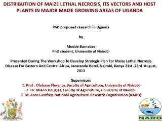 DISTRIBUTION OF MAIZE LETHAL NECROSIS, ITS VECTORS AND HOST PLANTS IN MAJOR MAIZE GROWING AREAS OF UGANDA