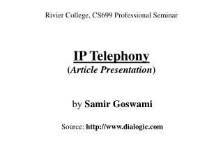 IP Telephony Article Presentation