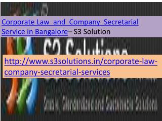 Corporate Law and Company Secretarial Services in bangalore