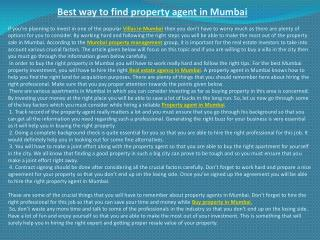 Best way to find property agent in Mumbai