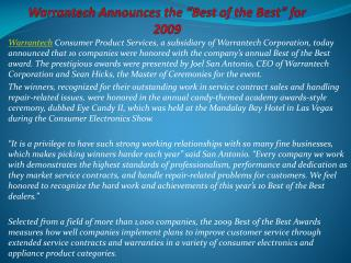 """Warrantech Announces the """"Best of the Best"""" for 2009"""