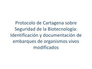 Protocolo de Cartagena sobre Seguridad de la Biotecnología: Identificación y documentación de embarques de organismos v