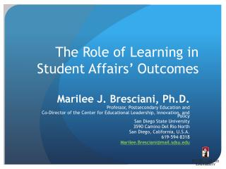 The Role of Learning in Student Affairs  Outcomes