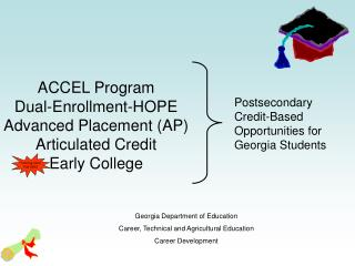 ACCEL Program Dual-Enrollment-HOPE Advanced Placement AP Articulated Credit  Early College
