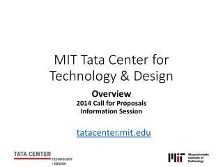MIT Tata Center for Technology & Design
