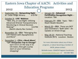 Eastern Iowa Chapter of AACN:   Activities and Education Programs