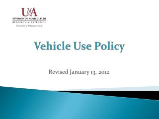Vehicle Use Policy