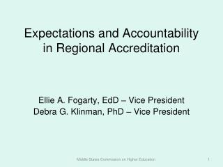 Expectations and Accountability in Regional Accreditation