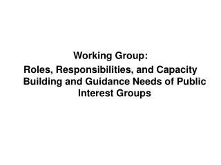 Working Group: Roles, Responsibilities, and Capacity Building and Guidance Needs of Public Interest Groups
