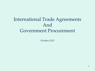 International Trade Agreements  And Government Procurement