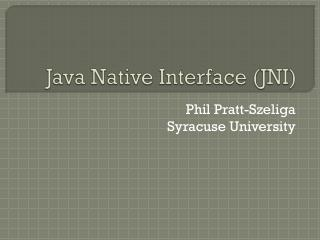 Java Native Interface (JNI)