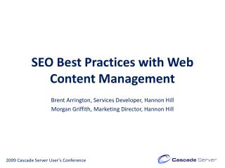 SEO Best Practices with Web Content Management