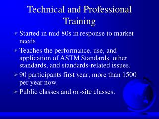Technical and Professional Training