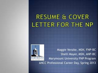 Resume & Cover Letter for the NP
