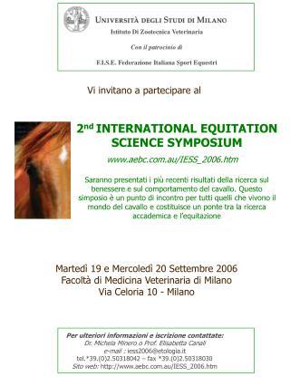 Istituto Di Zootecnica Veterinaria Con il patrocinio di F.I.S.E. Federazione Italiana Sport Equestri