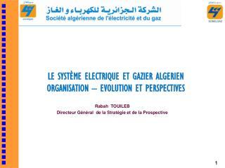 LE SYSTÈME ELECTRIQUE ET GAZIER ALGERIEN     ORGANISATION – EVOLUTION ET PERSPECTIVES
